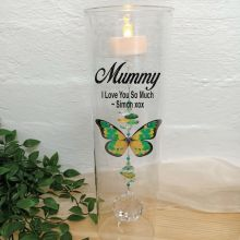 Mum Glass Candle Holder Green Butterfly