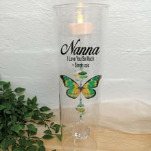 Nana Glass Candle Holder Green Butterfly