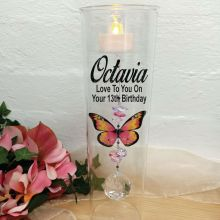 13th Birthday Glass Candle Holder Pink Butterfly