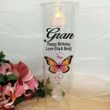 Mum Glass Candle Holder Pink Butterfly