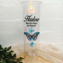 Valentines Glass Candle Holder Blue Stripe Butterfly
