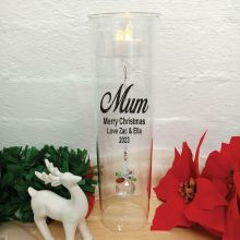 Mum Christmas Candle Holder with Crystal Sphere