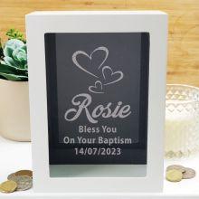 Baptism Personalised Money Box Photo Insert - Black