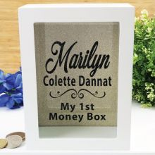 Personalised First Money Box Photo Insert - Gold Swirl