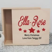 Personalised Wooden Christmas Box Large - Star