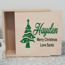 Personalised Wooden Christmas Box Large - Tree
