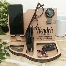 Groomsman Personalised Phone Docking Station Desk Organiser