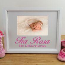 Baby Personalised Photo Frame 4x6 Glitter White