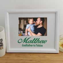 Godfather Personalised Photo Frame 4x6 Glitter White