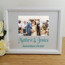 Wedding Personalised Photo Frame 4x6 Glitter White
