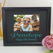 80th Birthday Personalised Photo Frame 4x6 Glitter -Black