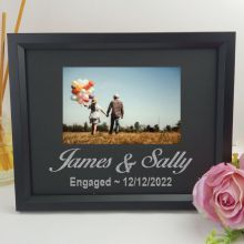Engagement Personalised Photo Frame 4x6 Glitter Black