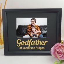 Godfather Personalised Photo Frame 4x6 Glitter - Black