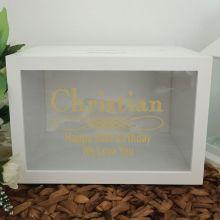 50th Birthday Wishing Well Card Box Glitter Print