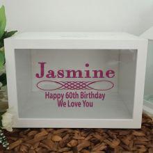 60th Birthday Wishing Well Card Box Glitter Print