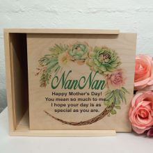 Nan Personalised Wooden Gift Box - Succulent