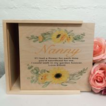 Nan Personalised Wooden Gift Box - Sunflower