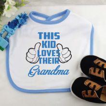 This Kid Loves Their Grandma Baby Boy Bib - Blue