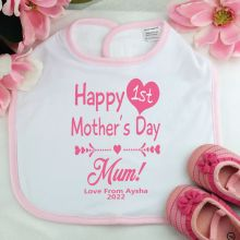 Personalised 1st Mothers Day Bib - Girl