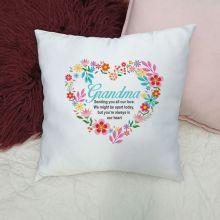 Grandma Cushion Cover - Floral Heart