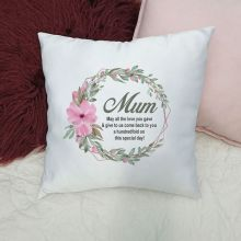Personalised Mum Cushion Cover - Pansy Wreath