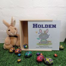 Personalised Easter Box Medium White Lid - Tribal Bunny