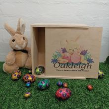 Personalised Easter Box Medium Wood - Sleeping Bunny