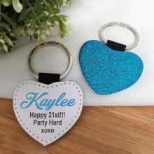21st Birthday Blue Glittered Leather Heart Keyring