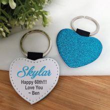 60th Birthday Blue Glittered Leather Heart Keyring