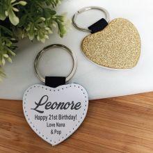 21st Birthday Gold Glittered Leather Heart Keyring
