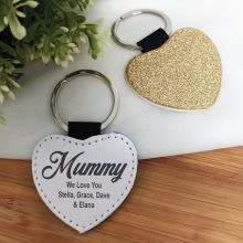 Mum Gold Glittered Leather Heart Keyring