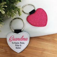 Grandma Pink Glittered Leather Heart Keyring