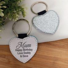 Mum Silver Glittered Leather Heart Keyring