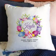 Personalised Easter Cushion Cover - Pink Eggs