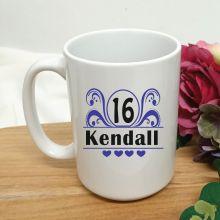 16th Birthday Personalised Coffee Mug - Swirl 15oz