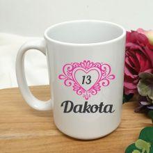 13th Birthday Personalised Coffee Mug Filigree Heart 15oz