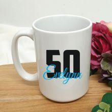 Personalised 50th Birthday Coffee Mug 15oz