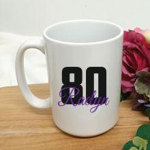 Personalised 80th Birthday Coffee Mug 15oz