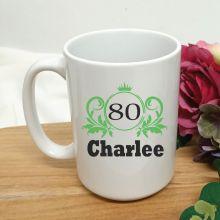 Personalised 80th Birthday Princess Coffee Mug 15oz
