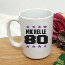 Personalised 80th Birthday Coffee Mug 15oz Star