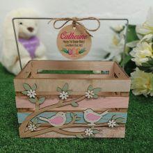 Wooden Easter Crate Egg Hunt Basket - Birds