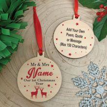 Teacher Christmas 2020 Wooden Ornament - Reindeer