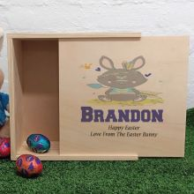 Personalised Wooden Easter Box - Native Bunny
