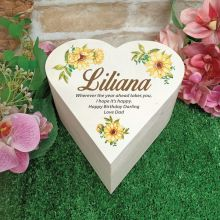 Birthday Wooden Heart Gift Box - Sunflower