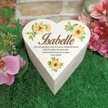 Personalised Wooden Heart Gift Box -Sunflower