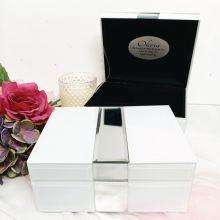 Personalised Silver & White Mirror Jewel Box