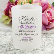 Personalised Baptism Tea Light Candle Holder