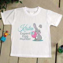 Kids Easter T Shirt - 2-6 Year - Egg Hunter Pink