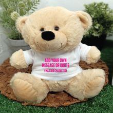 Custom Text T-Shirt Bear Cream Plush