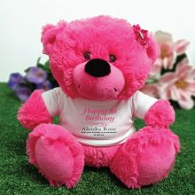 Personalised 1st Birthday Bear Hot Pink Plush